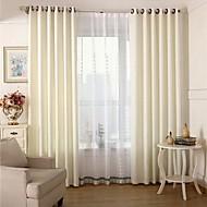 zwei Panele Europäisch Solide Weiß Wohnzimmer Polyester Verdunklungsvorhänge Vorhänge