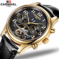 Carnival® Watches Multifunctional Hollow Flywheel Automatic Mechanical Watch Retro Digital Stainless Steel Mens Watch Cool Watch Unique Watch