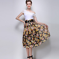 Women's Floral White / Yellow Skirts,Casual / Day Midi