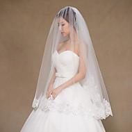 Wedding Veil Two-tier Fingertip Veils Lace Applique Edge Tulle Lace Ivory