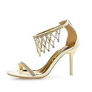 Women's Shoes Leather / Glitter Stiletto Heel Heels Sandals Wedding / Party & Evening / Dress Silver / Gold