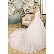 Lanting Bride® Corte en A Vestido de Boda Capilla Cuchara Tul con Apliques / Botón