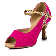 Women's Dance Shoes Flocking Latin Salsa Sandals Heels Flared Heel Performance