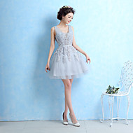 Cocktail Party Dress-Silver Ball Gown V-neck Short/Mini Lace
