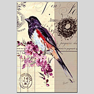 peintures à l'huile moderne fleur et le style des oiseaux matériel de toile avec châssis en bois prêt à accrocher Taille: 60 * 90cm.