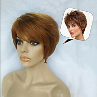 Delicate  Wavy Virgin Remy Human Hair 1inch Monofilament Top Short Capless Wig for Lady