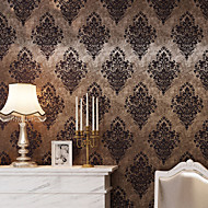 Damast Tapete Retro Wandverkleidung,Nicht-gewebtes Papier Vintage Brown/Bronze Damask Wallpaper
