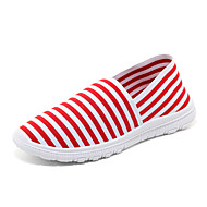 Women's Shoes Fabric Flat Heel Mary / Round Toe / Closed Toe Flats Dress / Casual Black / Blue / Red