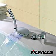 Mlfalls Fashion Four Holes Temperatured Led Waterfall Chrome Finish Bathroom Faucet