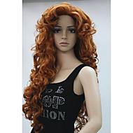 nye mode hår kvinders cosplay part parykker kobber rødt lange krøllede pandehår fuld paryk