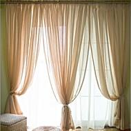 Dois Painéis Moderno Sólido Como na Imagem Quarto Mistura de Linho e Poliéster Sheer Curtains Shades