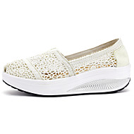 Mokasyny i pantofle-DamskieKoturn-White Black-PU-Casual
