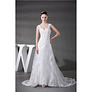 Sheath / Column Wedding Dress Chapel Train Sweetheart Organza / Satin with Appliques / Beading / Ruche