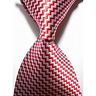New Checked White Red JACQUARD WOVEN Men's Tie Necktie #3018