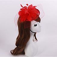 Women's / Flower Girl's Feather / Flax / Net Headpiece-Wedding / Special Occasion / Casual Fascinators 1 Piece