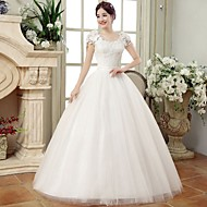 Ball Gown Wedding Dress Floor-length V-neck Lace / Organza / Satin with Lace / Sequin