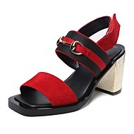 Scarpe Donna-Sandali-Formale / Casual / Serata e festa-Tacchi / Spuntate-Quadrato-Cashmere-Marrone / Rosso