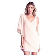 Sexig Bodycon Enfärgad Klänning Kvinnors V-hals Mini Polyester