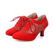 Sapatos de Dança(Preto / Rosa / Vermelho) -Feminino-Personalizável-Dança do Ventre / Latina / Jazz / Tênis de Dança / Moderna / Samba /