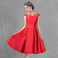 Cocktail Party Dress-Ruby A-line Bateau Knee-length Satin