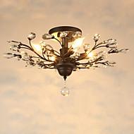 Vintage Crystal Flush Mount/E12/E14 5Lights/Metal Painting/ Living Room / Bedroom / Black OR Gold