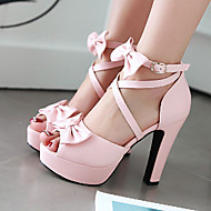 Women's Shoes Leatherette Spring / Summer / Fall Heels / Peep Toe Sandals Outdoor / Dress / Casual Chunky Heel BowknotBlack / Pink /