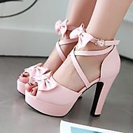 Women's Shoes Leatherette Chunky Heel Heels / Peep Toe Sandals Outdoor / Dress / Casual Black / Pink / Purple / Beige