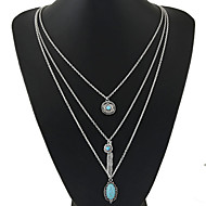 Women' New European Style  Bohemia Leaves Imitation Turquoise Geometric Simple Multilayer Necklace