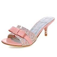 נעלי נשים-סנדלים-עור פטנט / נצנצים-עקבים / נעלים עם פתח קדמי / נעלי בית-שחור / ורוד / לבן-חתונה / שמלה / מסיבה וערב-עקב נמוך
