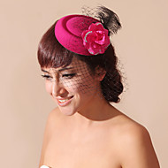 Women's / Flower Girl's Feather / Velvet / Net Headpiece-Wedding / Special Occasion Birdcage Veils 1 Piece