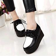 패션 스니커즈-야외 / 캐쥬얼-여성의 신발-크리퍼-레더렛-플랫폼-블랙 / 화이트