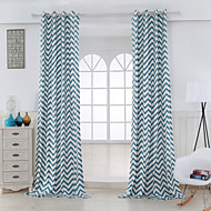 Two Panels Designer Stripe Blue Living Room Cotton Panel Curtains Drapes