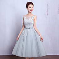 Cocktail Party Dress-Silver A-line Jewel Tea-length Tulle
