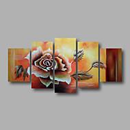"""allungato (pronto ad appendere) olio dipinta a mano pittura 60 """"x36"""" tela di arte della parete fiori moderni rose marrone"""