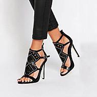 Women's Shoes Leatherette Stiletto Heel Open Toe Sandals Dress Black