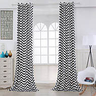 Two Panels Modern Stripe Black Living Room Cotton Panel Curtains Drapes