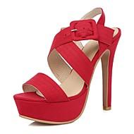 FemininoPlataforma Chanel-Salto Agulha Plataforma-Preto Vermelho Amêndoa-Veludo Courino-Casamento Social Festas & Noite