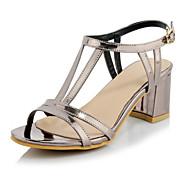 נעלי נשים-סנדלים-נצנצים / חומרים בהתאמה אישית-עקבים-סגול / כסוף / אפור-חתונה / שמלה / קז'ואל / מסיבה וערב-עקב עבה