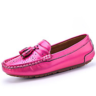 Women's Shoes Leather Flat Heel Comfort Loafers Office & Career / Casual Pink / Red / Silver