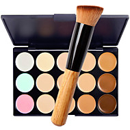 15 Concealer/Contour Wet Matte Shimmer Cream + 1 Makeup Brush Moisture Sun Protection Coverage Whitening Long Lasting Waterproof Natural Thick