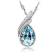 Lots Color Rhinestone Sapphire Heart Pendant Necklaces Real 925 Silver Pink Blue Zircon Women 2016 Crystal Jewelry