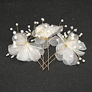 Women's / Flower Girl's Tulle / Alloy / Imitation Pearl Headpiece-Wedding / Special Occasion Hair Pin 2 Pieces