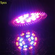 5pcs 5W E27 18xsmd5730 200lm 12red + 6blue ספקטרום מלא הוביל לגדול האורות (85-265v)