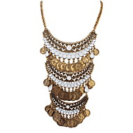 Fashion Punk Style Jewelry Statement Gold Silver Coins Pendant Long Tassel Alloy Multi Layer Necklace For Lady Women