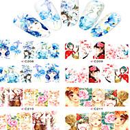 8pcs  Nail Art Water Transfer Stickers Beautiful Girl And Beautiful Flower Image Fashion C208-211