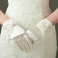 Até o Cotovelo Com Dedos Luva Nailon Cetim Elástico Luvas de Noiva Luvas de Festa Primavera Verão Outono Inverno Miçangas
