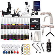 tatoeage starterkits 2 x Roterende tatoeage machine voor lining and shading Lcd-voeding 5 X Tatoeage Naald Rl 5 compleet Kit