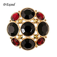 D Exceed New Arrival Small Round Women  Gold Plated Brooch Pins Black and Red Rhinestone Jewelry