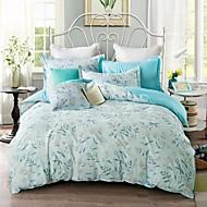 4 peças de cobertura flor queen size algodão padrão de edredon + folha plana + fronhas