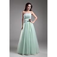 Formal Evening Dress A-line Strapless Floor-length Tulle